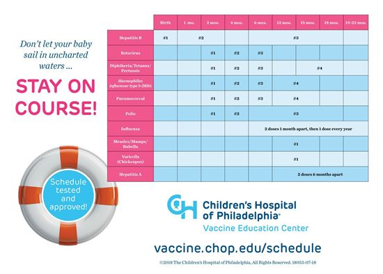 Picture of Immunization Schedule Clings:  Set of 1000